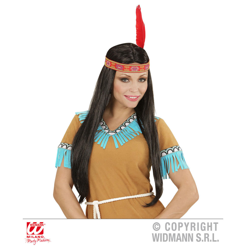INDIAN WIG WITH HEADBAND AND FEATHER in polybag