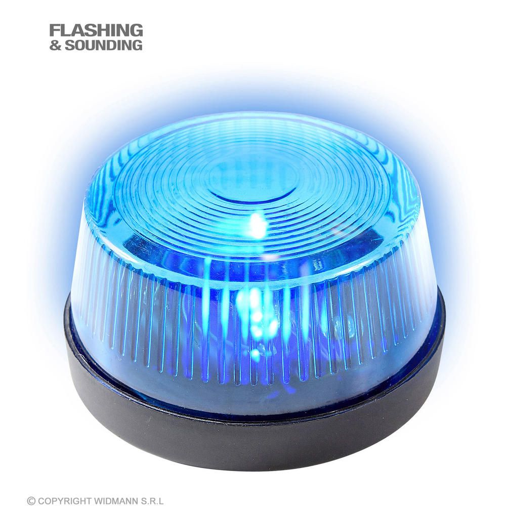 """BLUE FLASHING WARNING LIGHT WITH SIREN"" 7x4 cm"