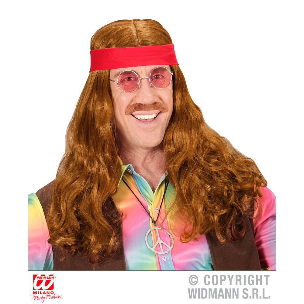 HIPPIE WIG WITH RED HEADBAND & MOUSTACHE in polybag