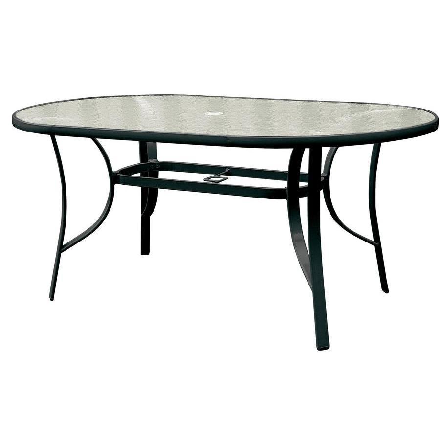 Oval Τραπέζι μαύρο με τζάμι 160Χ85
